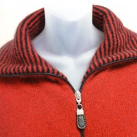 9831 Ladies striped collared jacket collar detail.